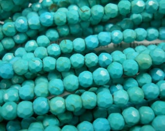 4mm artificial turquoise faceted beads, 15.5 inch