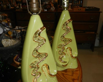 Pair Hollywood Regency Mid Century Table Lamps Apple Green Gold Art Deco