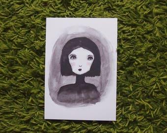 Girl Art Print, Black and White Art, Portrait, Dark Art, Female, Wall Art, Illustration, Painting, Outsider Art, Weird, Quirky Art,