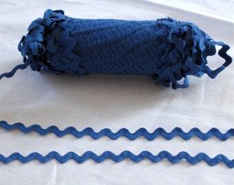 "Vintage Rickrack Sewing Trim, Bright Blue cotton medium rickrack  3/8"" wide - 3 yards - sewing trim supplies"
