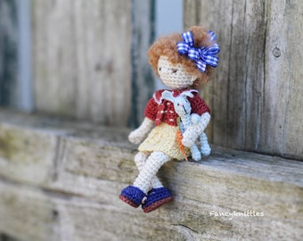Interior Miniature Crochet Doll with Bunny Rabbit, Sweet Brown Curly Girl from your Childhood Memory, Birthday Gift, Collectable Home Decor