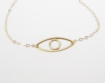 14k Gold Evil Eye Necklace, Gold Evil Eye Bracelet, Open Outline Eye, Simple and Subtle Celebrity Style
