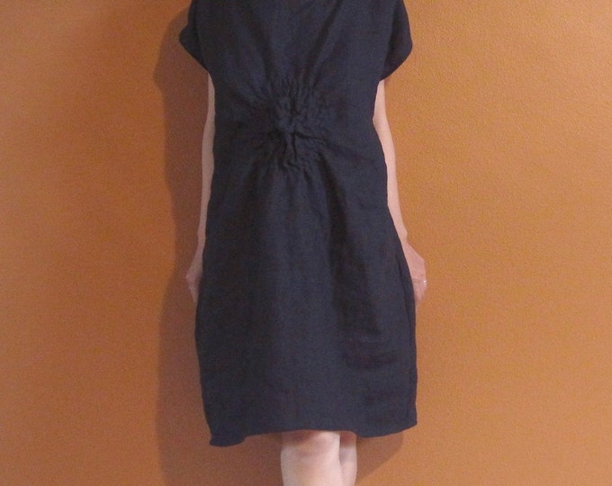 handmade SMOCKED TWIRL linen tunic dress made to order / black linen dress /indie design /dress for wedding / plus size / petite