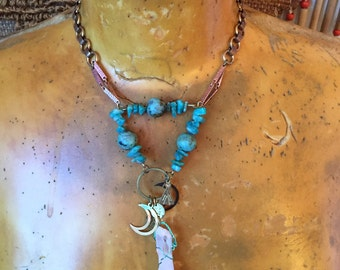 Celestial Necklace- Gypsy Jewelry- Stone Necklace- Quartz Crystal- Genuine Turquoise- Moon Charms- Gift for Hippie- Sustainable Gifts