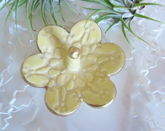 Porcelain  yellow ring holder with gold rim jewelry tray, Ring holder, home decor, kitchen storage