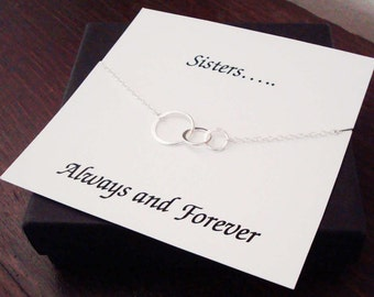 Triple Half Flat Circle Infinity Sterling Silver Bracelet ~~Personalized Card for Sister, Cousin, Best Friend, Sister in Law, Bridal Party