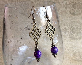 Dangle earrings, brass earrings, purple earrings, agate earrings, boho earrings, bohemian, gemstone earrings, beaded earrings, Earrings