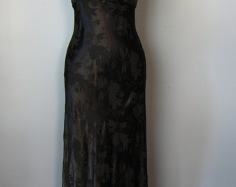 Black Gown / Vtg 70s / All That Jazz Jacquard Black Gown / Corset lace back / Size 9 10 / Body Con full length dress