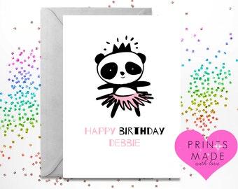 Panda birthday card etsy greetings card birthday card a5 happy birthday panda personalised personalized bookmarktalkfo Choice Image