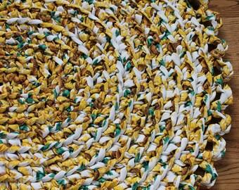 "Rag Rug, Yellow 26"" x 40"" Crochet Oval Rag Rug, Nursery Rug, Cottage Chic Decor, Shabby Chic Decor, Crochet Rag Rug, Yellow Rag Rug"