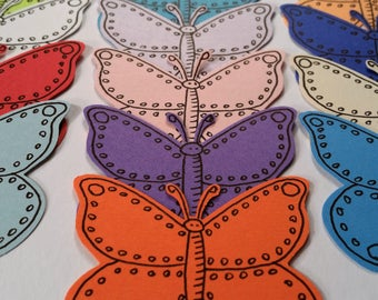 "Butterflies, Large, with Hand-Drawn Black Ink~ 2"" Butterfly Cut-outs, Confetti, Wedding, Party Confetti, Craft Supply, Card Supply"