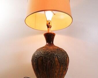Vintage Mid Century Modern Melting Design Stoneware Ceramic Table Lamp