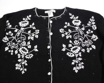 Vintage 1980s Black and White Beaded Embroidered Flowers Cardigan Sweater Size XL