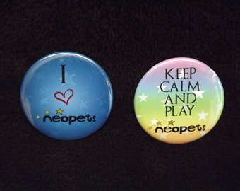 """Neopets Inspired Pin Back Button Set 2.25"""""""