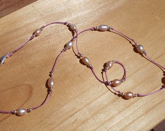 Pink Pearls and silver on knotted cord necklace