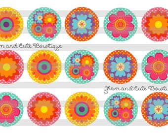 "Spring Flowers INSTANT DOWNLOAD Bottle Cap Images 4x6 sheet 1"" circles"