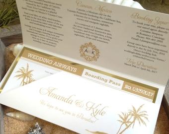 Destination Wedding Invitation / Travel Theme Boarding Pass Wedding Invitation / Plane Ticket Invitation / Boarding Pass Sleeve