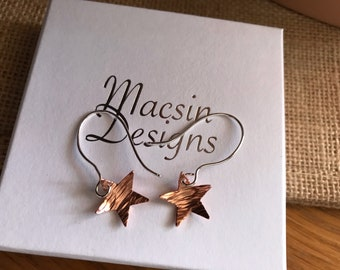 Laura mixed metal contrast bark textured star earrings in Argentium Silver and copper