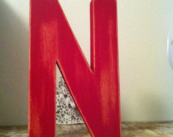 Freestanding Wooden Letter 'N' - Distressed Finish - 15cm - Ariel Style Font