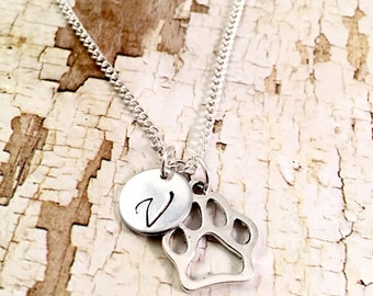 Clemson print etsy paw print necklace wild cats charm initial necklace nu wildcats clemson mozeypictures Image collections