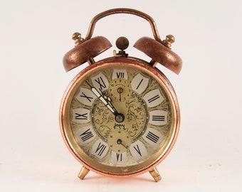 Vintage alarm clock - Bell alarm clock - Copper alarm clock - Retro alarm clock - Table clock - Mechanical alarm clock - Metal alarm clock