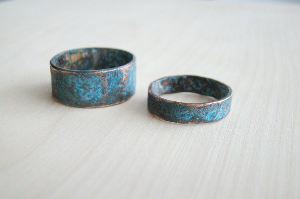 His and her ring set rustic hammered copper set of rings