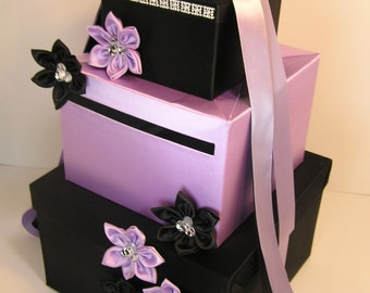 Wedding Card Box Black and Lavender Gift Card Box Money Box  Holder--Customize in your color/made to order