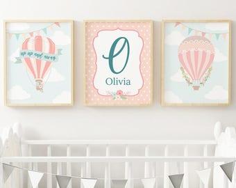 Hot Air Balloon Nursery Decor | Pink | Nursery Decor | Printable | BB007F
