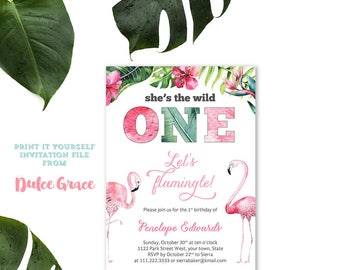 Flamingo Birthday Invitation, Digital Flamingo Invite, Flamingo 1st Birthday, Flamingle Party Cards, Download Flamingo Party, Printable