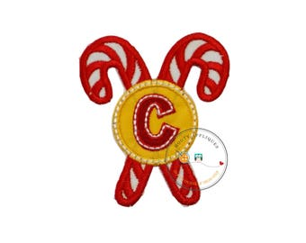 Christmas candy cane initial letter C- iron embroidered fabric applique patch embellishment- ready to ship