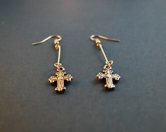 Dangling Cross Earrings