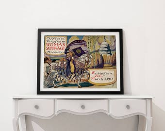 Suffragettes Protesting Poster, Women's March 1913, Equal Pay, Voting Rights, Equal Rights, Wall Art Decor, Wall Art, She Persisted