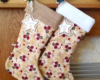 Christmas Stockings,  Santa Christmas Stocking, Personalised Christmas Stocking, Luxury Christmas Stocking *FREE NAME TAG*