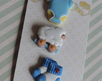 """Baby Boy Buttons, """"Sleep Tight Boy"""" Baby Hugs Collection by Buttons Galore, Carded Buttons, Set of 3, Style #BH128, Shank Novelty Buttons"""
