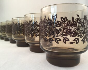Retro Smoke Brown Drinking Glasses with Raised Leaf Design (Set of 6 - 8 oz.)