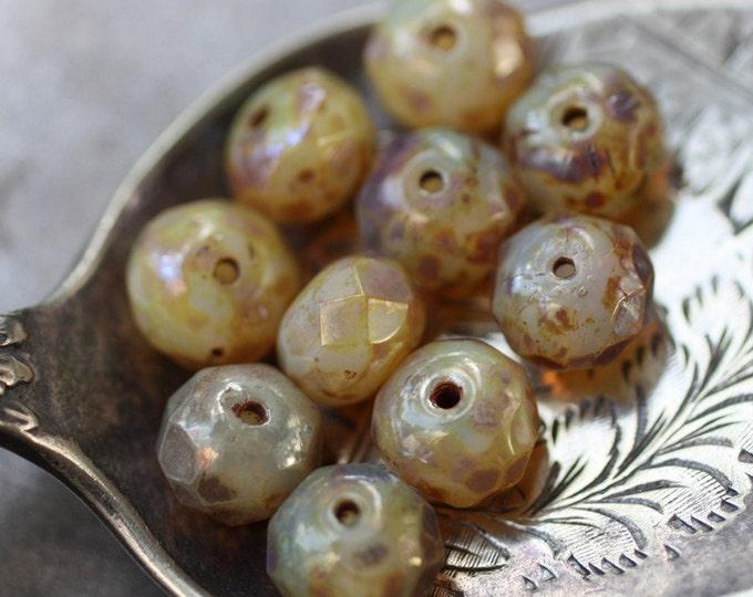 CASHMERE GLOW .. 10 Picasso Czech Opal Glass Beads 6x8mm (2598-10)