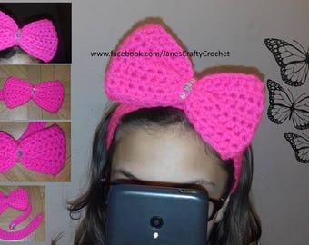 Crochet Large Bow Headband. (Sparkly Gems, Girls Headband, Gorgeous, Child's Headband, Hair Accessory)