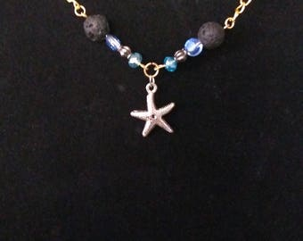 Blue Starfish Lavastone Essential Oil Diffuser Necklace