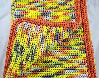 Hand Knit Soft Acrylic Blend yarn Baby / Lap Blanket