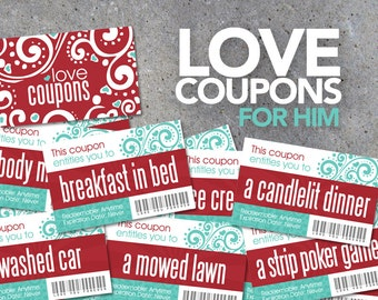 Love Coupons FOR HIM! – Printable Digital File – Instantly print love coupons for Valentine's Day, Anniversaries, or Just Because!