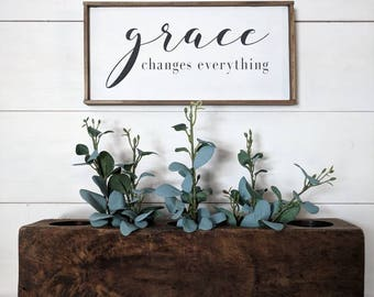 Farmhouse inspired 'grace changes everything' framed wood sign