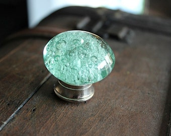 Glass Drawer Knob with bubbles in Mint Green and Silver toned Hardware (CK17-01)