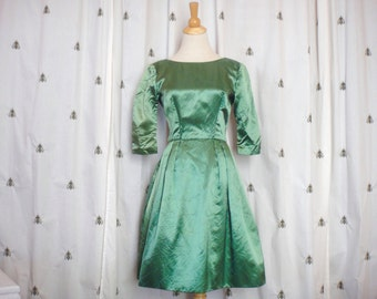 Vintage Satin Formal Dress, Emerald Green, Short, 3/4 Sleeves, Pleated Full Skirt, Altere