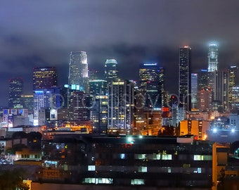 CANVAS Los Angeles Skyline NIGHT Downtown Panoramic Photo Cityscape Print