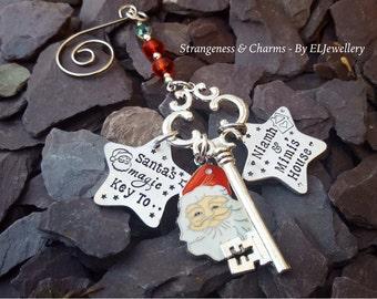 Hand Stamped Personalised 'Santa's Magic Key' Christmas Decoration/Ornament,Santa Key, Stamped Christmas Tree Decoration, Holiday Decor,
