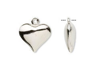 Puffed Heart Charm Silver or Gold Plate (12 X 11mm) Double sided--Set of Ten Hearts