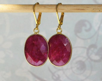 Oval Ruby Bezel Set Earrings, 18th and 19th century jewelry, Outlander Inspired Jewelry