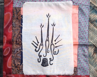 Needles - needle and thread hand blockprinted patch