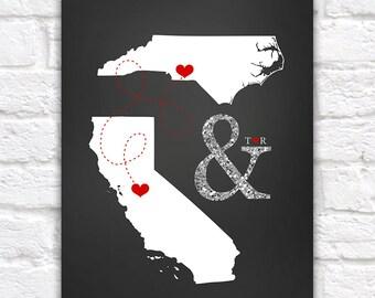Custom Wedding Gift Glitter Ampersand Two Maps, Silver, Black, White or Gold, Black Tie, Classic, Elegant Wedding Chalkboard Print