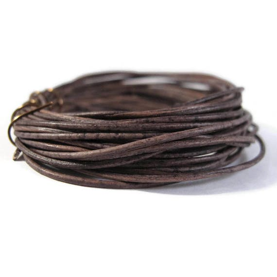 Natural Brown Leather, Strand of Natural Gray Round Leather, 1.0mm, 5 Yard Coil, Wrap Bracelets and Jewelry Making, 15 Feet of Leather